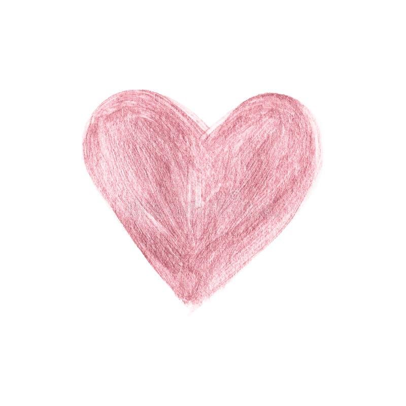 Colpo della spazzola dell'oro di Rosa disegnato a mano Vettore della toppa dell'acquerello del cuore illustrazione vettoriale