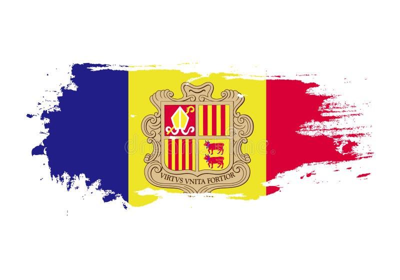 Colpo della spazzola di lerciume con la bandiera nazionale dell'Andorra Bandiera della pittura dell'acquerello Simbolo, manifesto illustrazione di stock