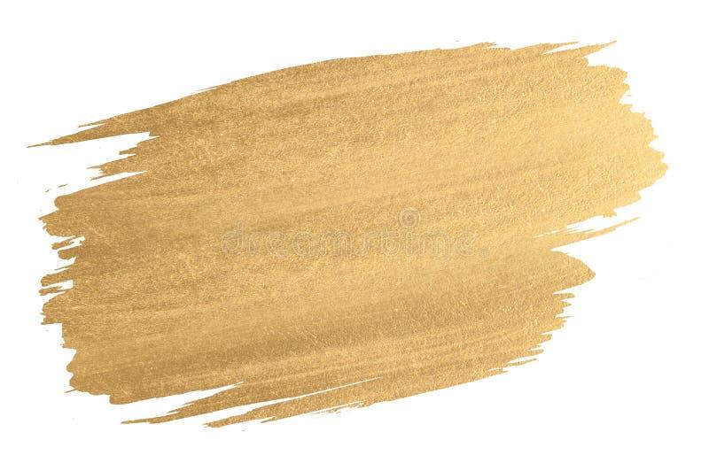 Colpo della spazzola di struttura dell'acquerello dell'oro immagini stock