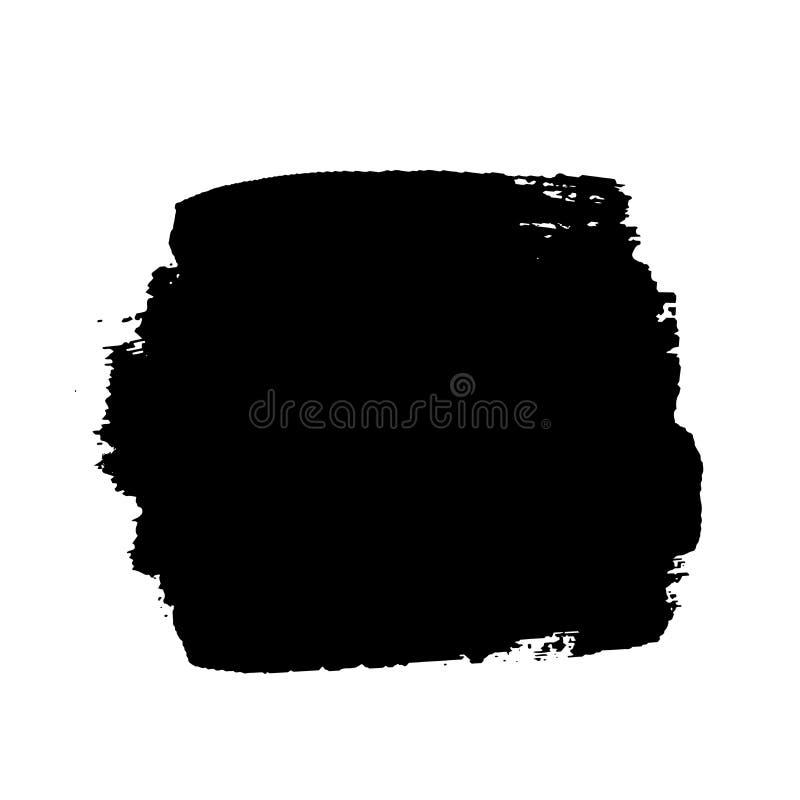 Colpo della spazzola isolato su fondo bianco Pennello nero Linea del colpo di struttura di lerciume Progettazione sporca dell'inc illustrazione vettoriale