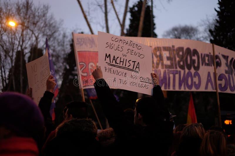 Colpo di Demostration 8M Feminist fotografia stock libera da diritti