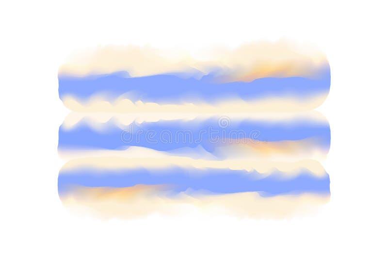 Colpo digitale blu e giallo del pennello nel fondo bianco di stile di concetto di acqua di struttura disegnata a mano di colore,  illustrazione di stock