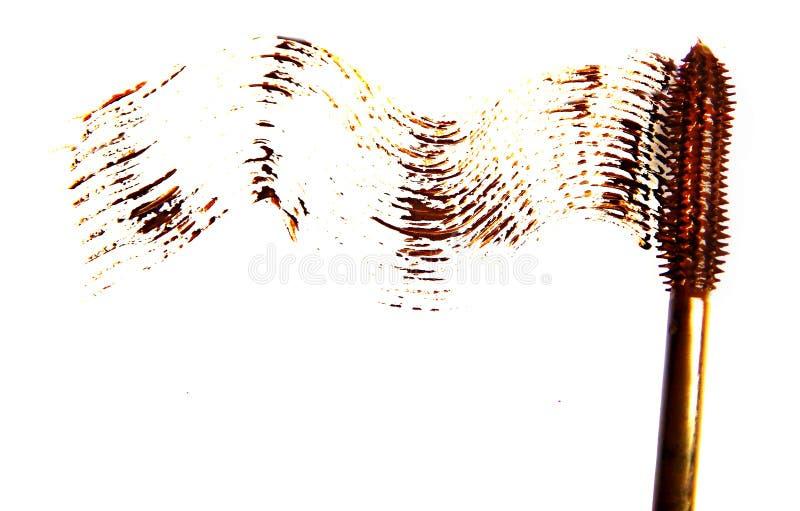 Colpo e spazzola della mascara di Brown isolati su bianco fotografia stock