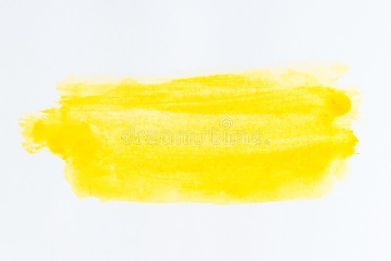 Colpo e struttura gialli della spazzola Sottolineatura e confine watercolo fotografia stock