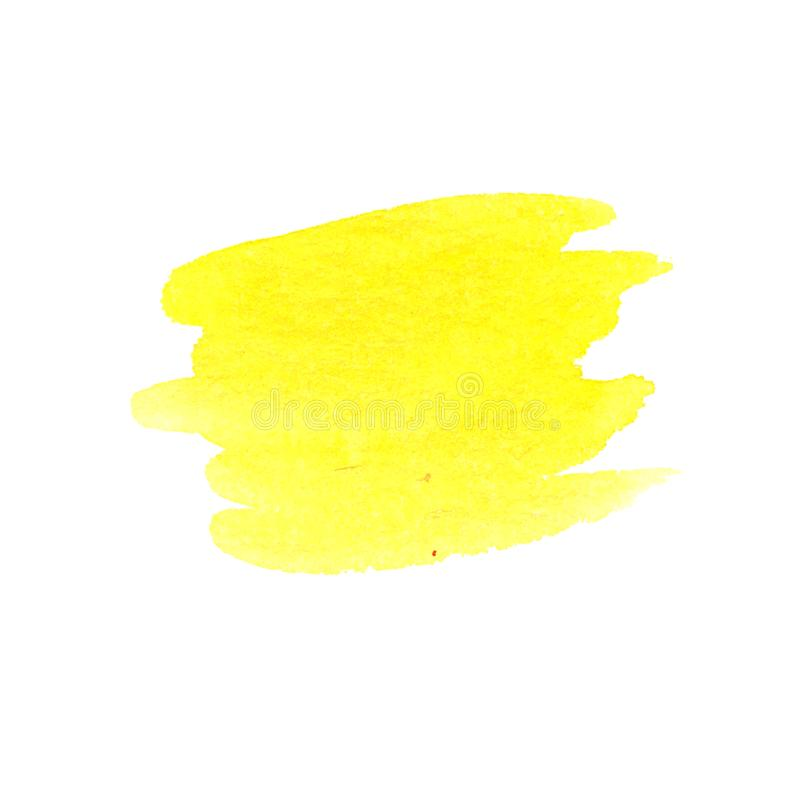 Colpo giallo dell'acquerello disegnato a mano fotografia stock libera da diritti