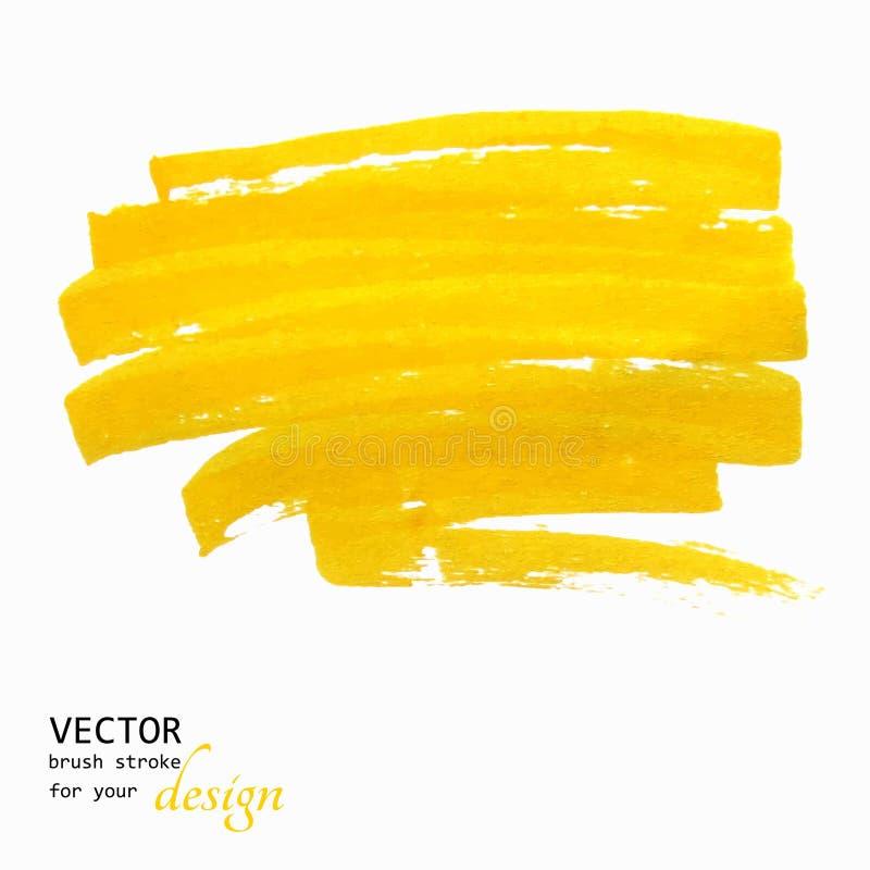 Colpo giallo luminoso della spazzola dipinto a mano royalty illustrazione gratis