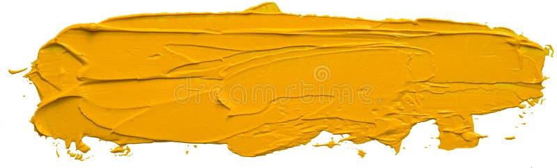 Colpo giallo strutturato della spazzola della pittura ad olio fotografie stock