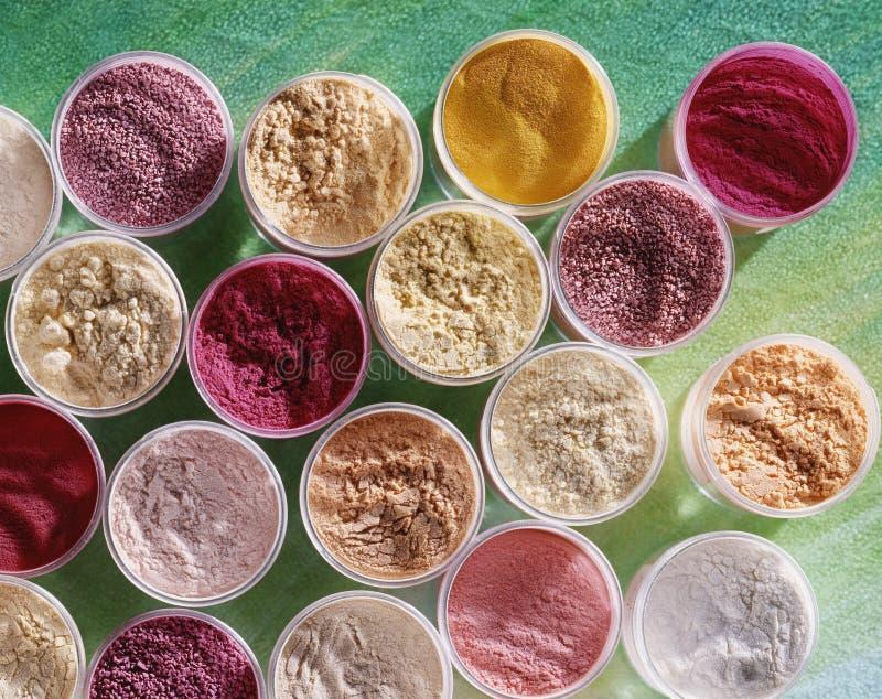 Colpo High-angle delle polveri di coloritura di alimento fotografia stock