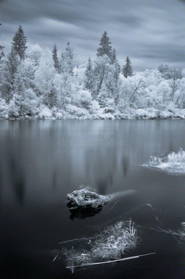 Colpo infrarosso del fiume di Gauja fotografie stock libere da diritti