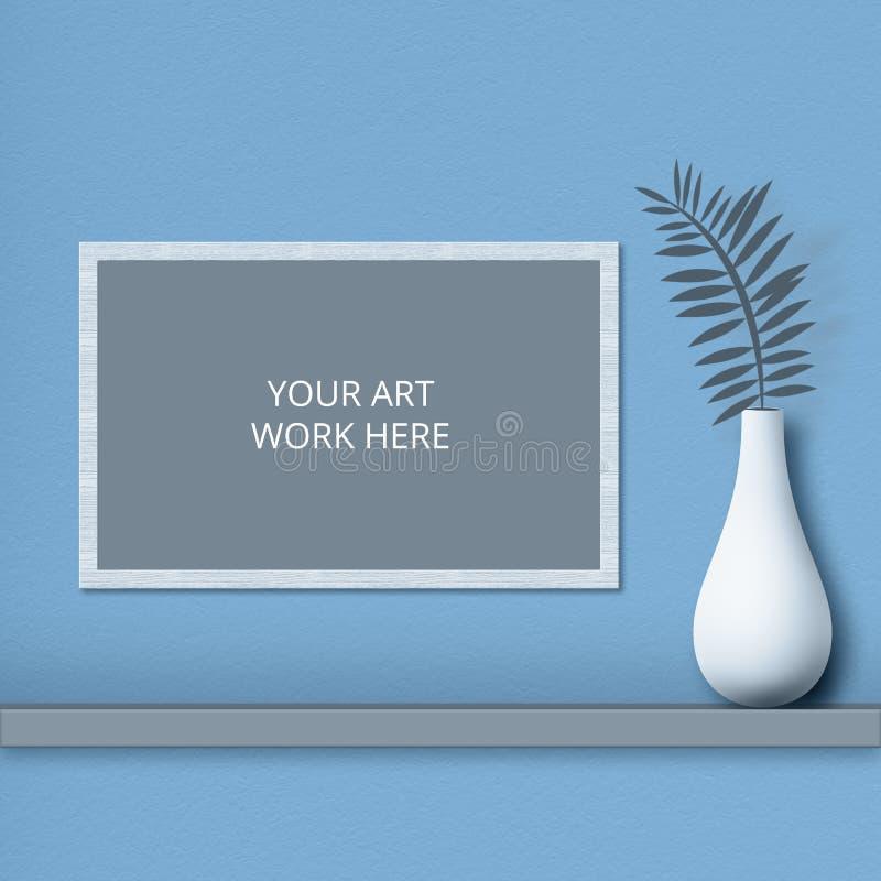 Colpo isolato del telaio con spazio per il vostro materiale illustrativo sulla parete blu, vaso bianco con la felce vicino Colpo  fotografia stock