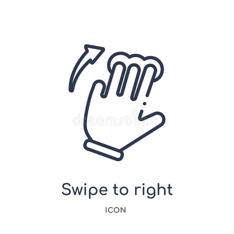 Colpo lineare per radrizzare icona dalla raccolta del profilo delle mani Linea sottile colpo per radrizzare icona isolata su fond illustrazione vettoriale