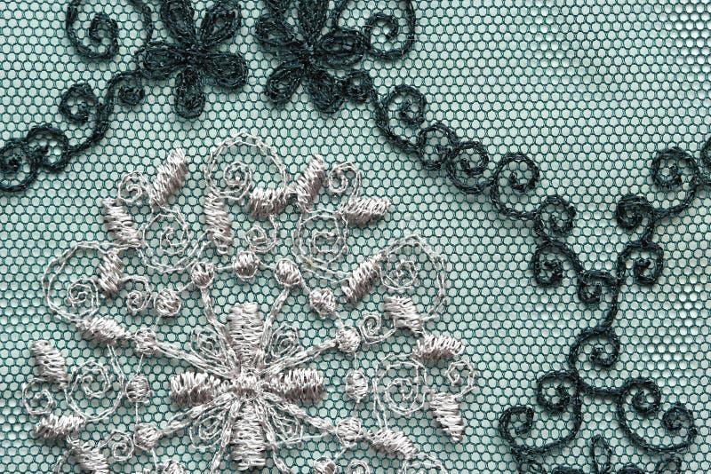 Colpo materiale di macro di struttura del pizzo nero dei fiori immagini stock libere da diritti