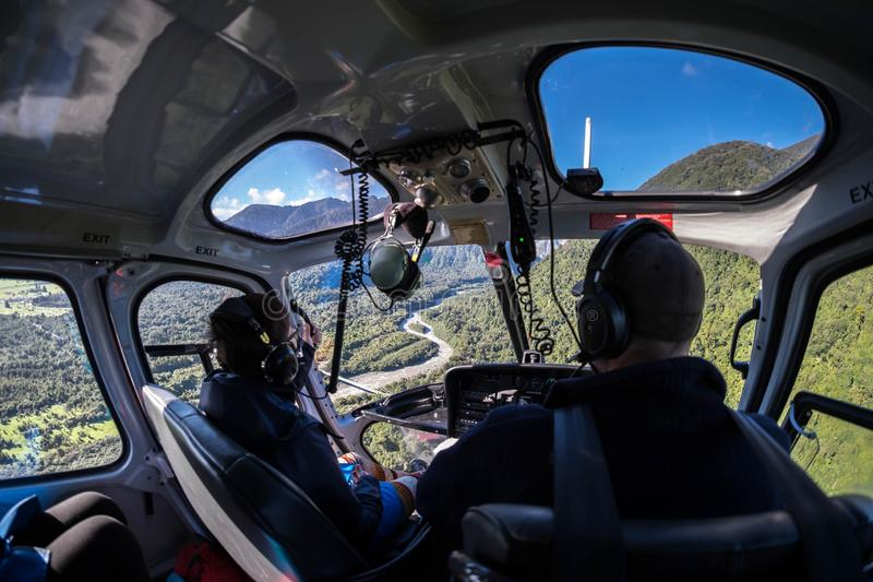Colpo preso durante il giro dell'elicottero al ghiacciaio di Fox, Nuova Zelanda fotografia stock libera da diritti