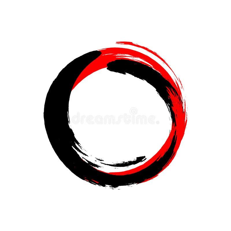 Colpo rotondo dell'inchiostro nero e rosso su fondo bianco Illustrazione di vettore delle macchie del cerchio di lerciume illustrazione vettoriale