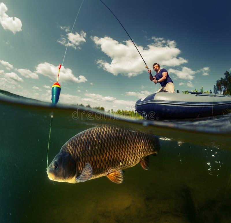 Colpo spaccato del pescatore fotografia stock libera da diritti