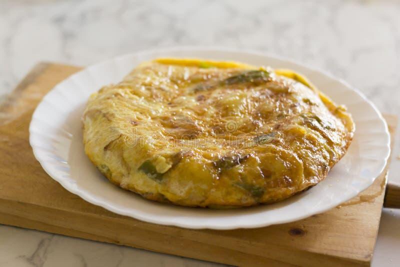 Colpo spagnolo dell'omelette della patata fotografia stock