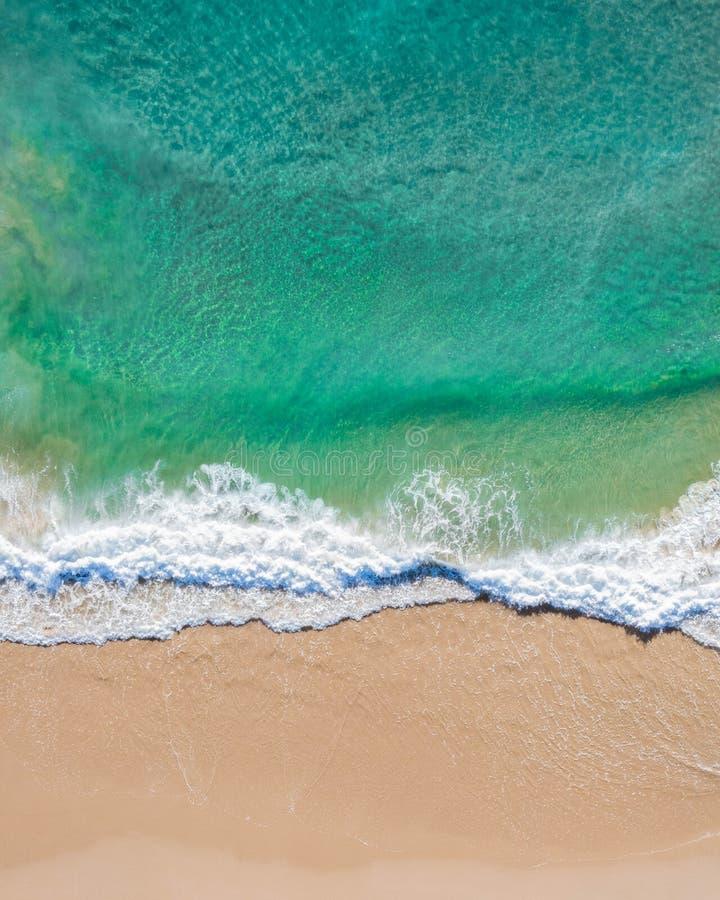 Colpo superiore aereo di una spiaggia con la sabbia piacevole, acqua blu del turchese e la vibrazione tropicale fotografia stock libera da diritti