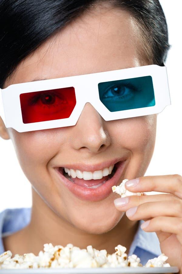 Colpo in testa dello spettatore in occhiali 3D fotografia stock libera da diritti