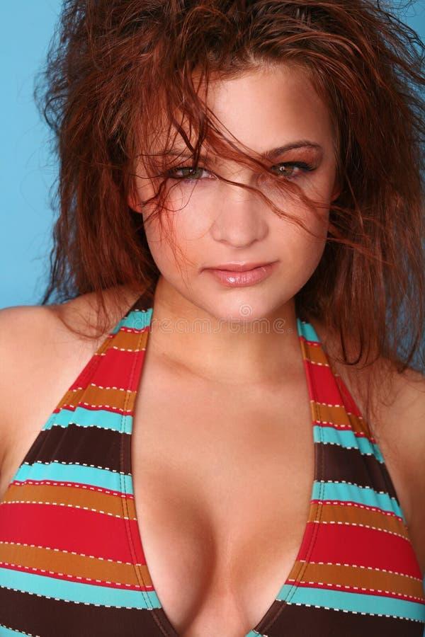 Colpo in testa sexy del modello del bikini fotografia stock
