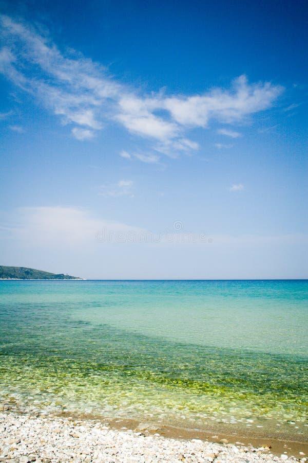 Colpo verticale della spiaggia idilliaca di estate immagine stock libera da diritti