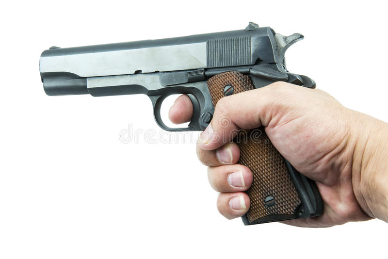 Colt Mark IV series80 government m1911 in hand. stock photo