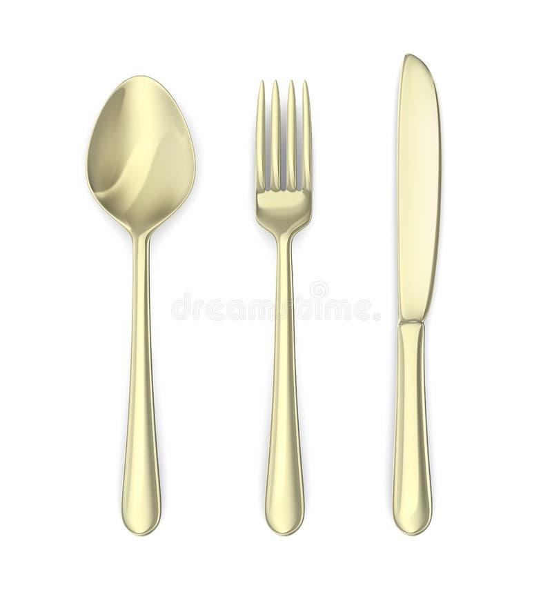 Coltelleria: cucchiaio, coltello, forcella. Isolato su bianco illustrazione vettoriale