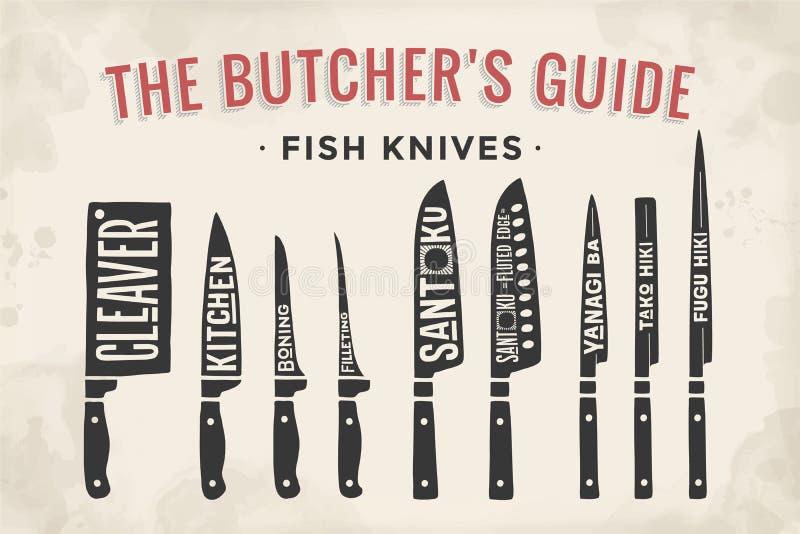 Coltelli di taglio del pesce messi Diagramma e schema del macellaio del manifesto illustrazione di stock