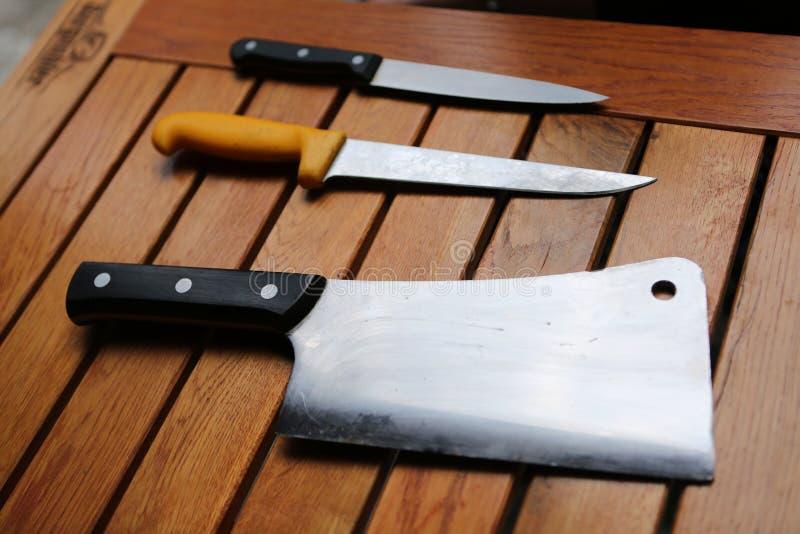 Coltelli professionali del cuoco unico s immagine stock libera da diritti