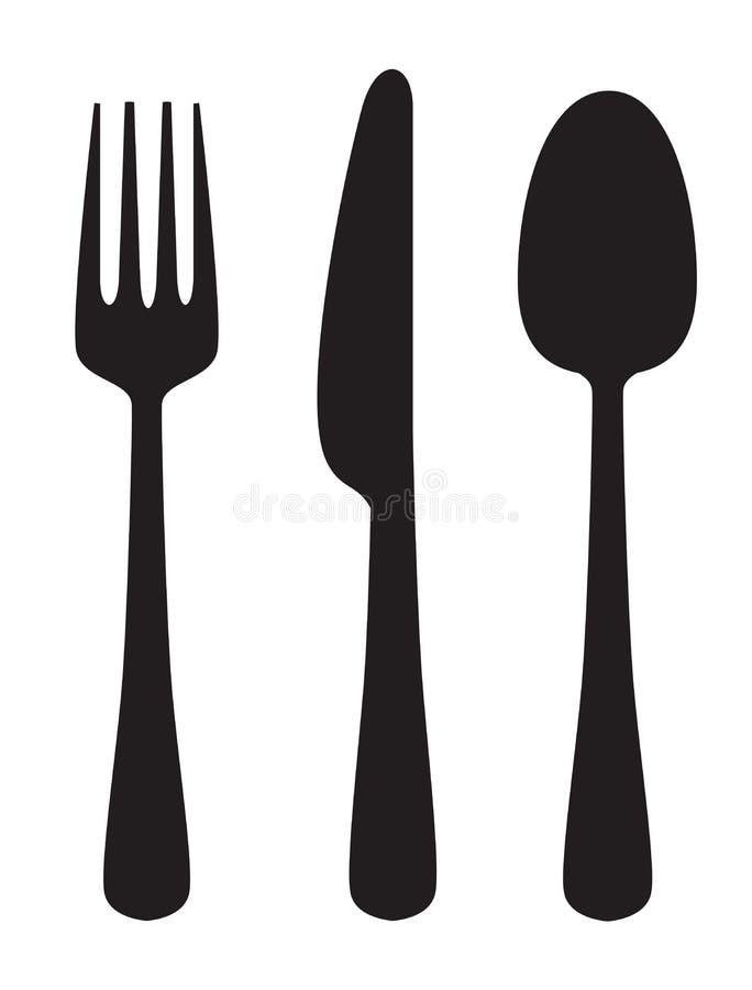 Coltello, forchetta e cucchiaio illustrazione di stock