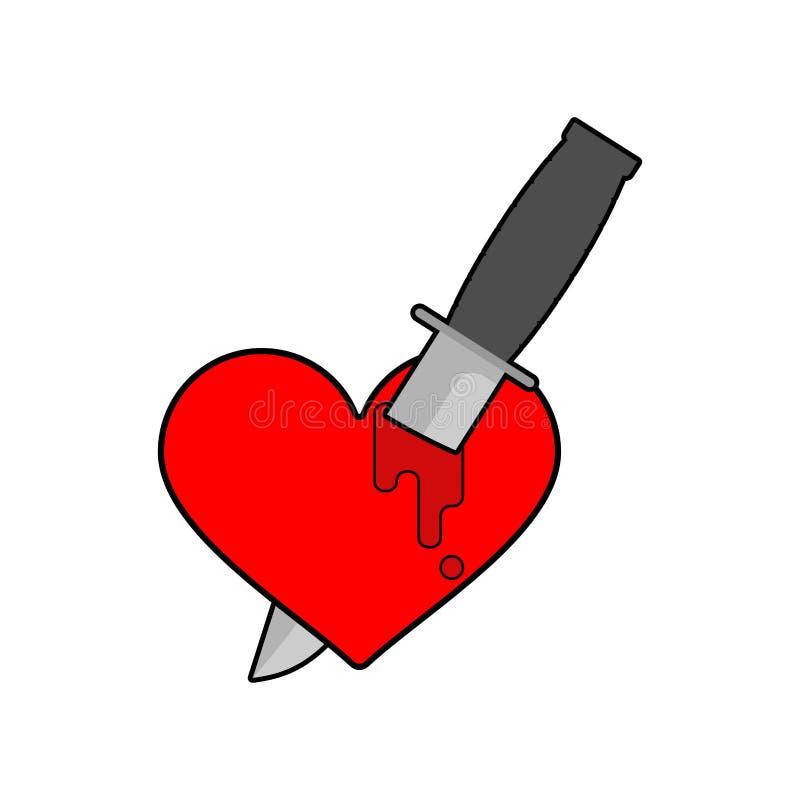 Coltello nel cuore isolato Simbolo di amore di uccisione Illustrazione di vettore royalty illustrazione gratis