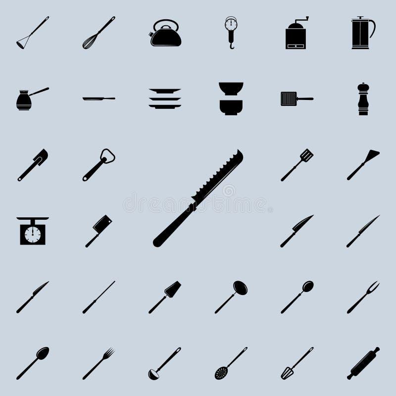 coltello per il taglio dell'icona del pane L'insieme dettagliato della cucina foggia le icone Segno premio di progettazione grafi royalty illustrazione gratis