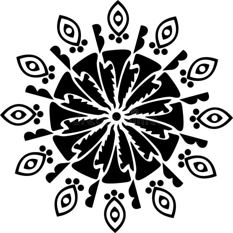 Coltello rotondo di progettazione, foglie in bianco e nero e coltello, toccanti arte con il segno degli alberi in pericolo royalty illustrazione gratis