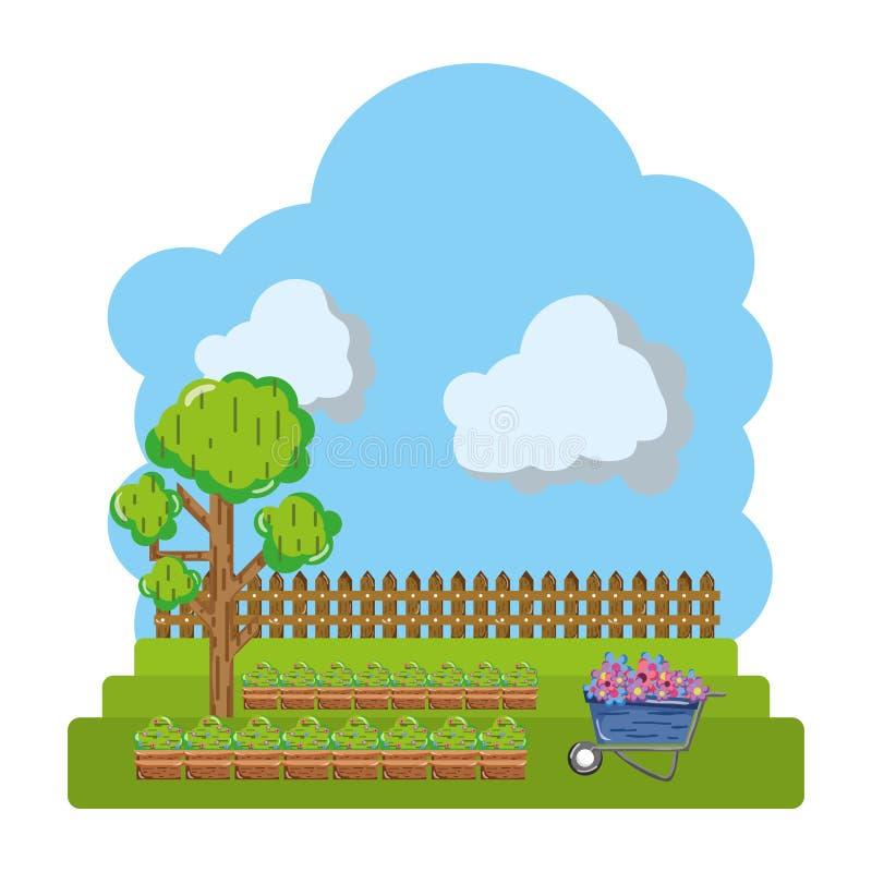 Coltivato con l'albero e l'azienda agricola di legno del grillage illustrazione di stock
