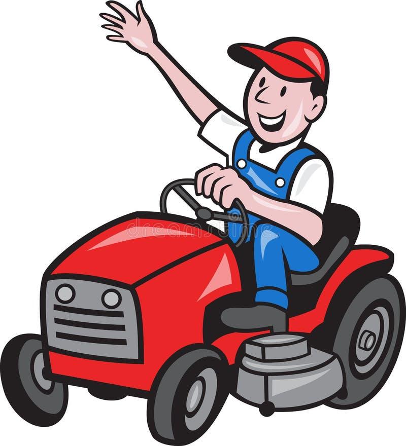 Coltivatore che determina giro sul trattore del falciatore royalty illustrazione gratis