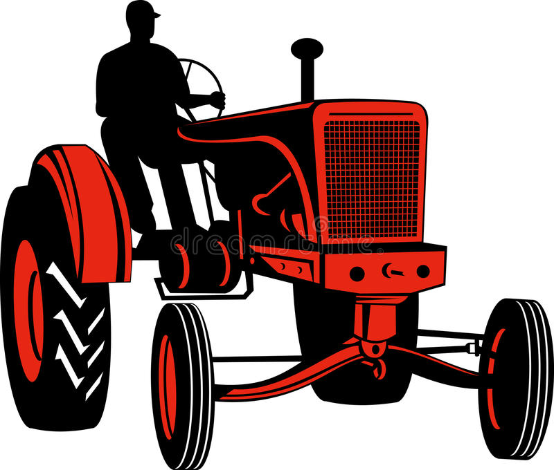 Coltivatore che guida il trattore dell'annata illustrazione vettoriale