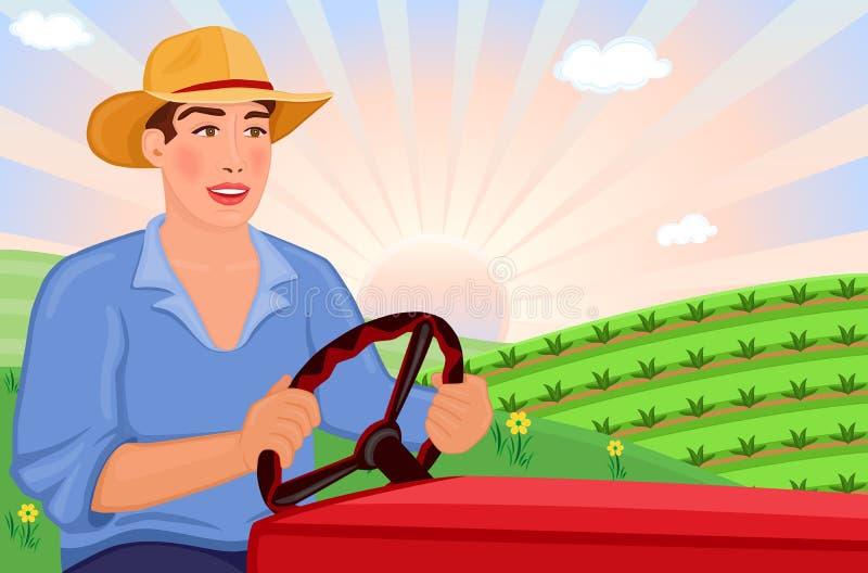 Coltivatore che guida trattore sull'azienda agricola illustrazione di stock