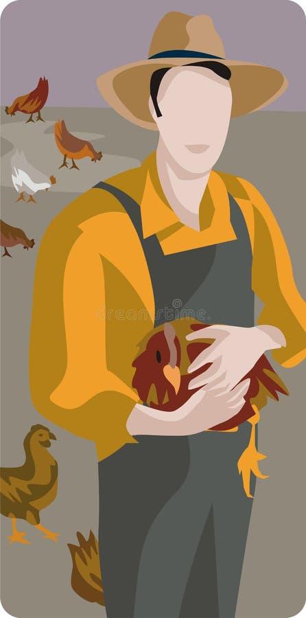 Coltivatore con un pollo illustrazione di stock