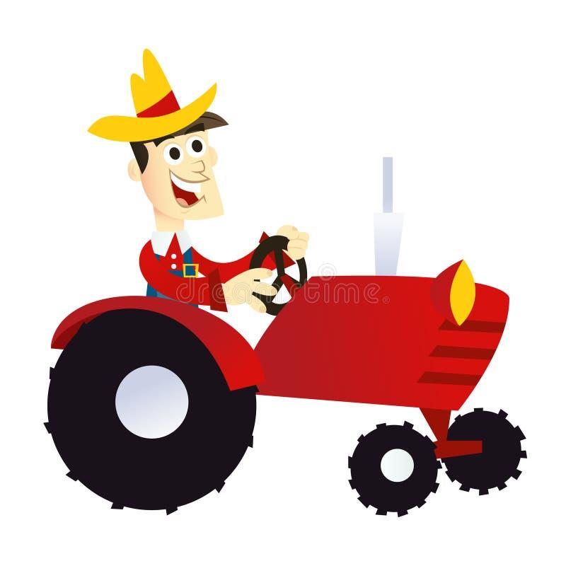 Coltivatore del fumetto sul trattore illustrazione vettoriale