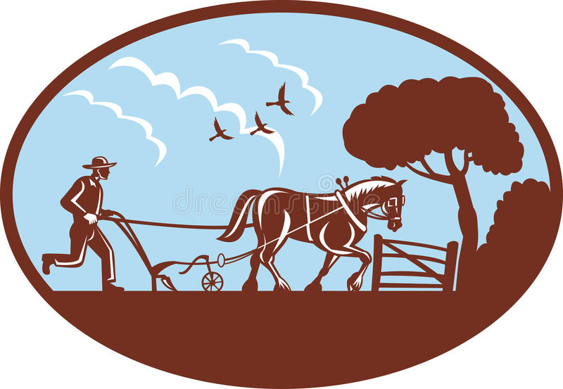 Coltivatore e cavallo che arano campo illustrazione vettoriale