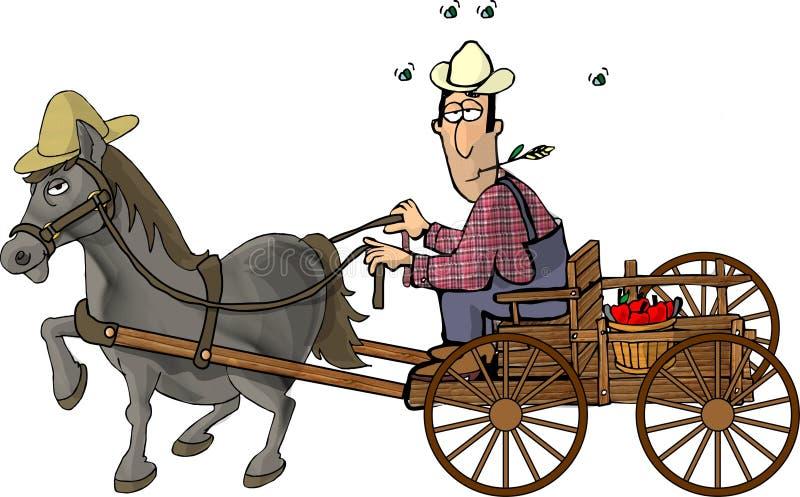 Coltivatore ed il suo vagone trainato da cavalli illustrazione vettoriale