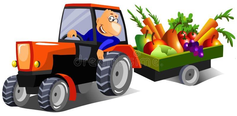 Coltivatore felice che guida un trattore royalty illustrazione gratis