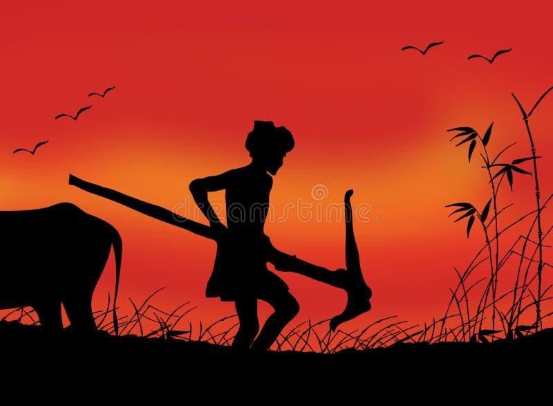 Coltivatore indiano sul lavoro royalty illustrazione gratis