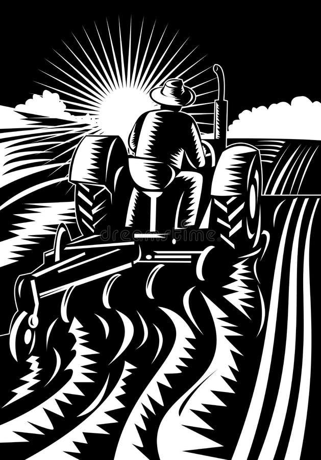 Coltivatore sul trattore che ara campo illustrazione vettoriale