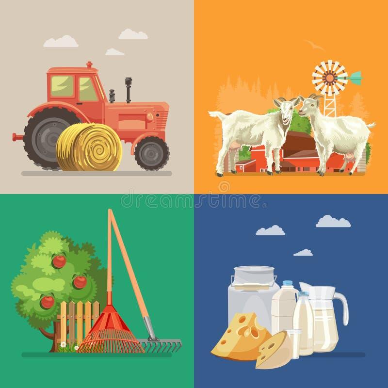 Coltivi il paesaggio rurale con le capre, la latteria, il trattore, di melo Linea arte Illustrazione di vettore di agricoltura royalty illustrazione gratis