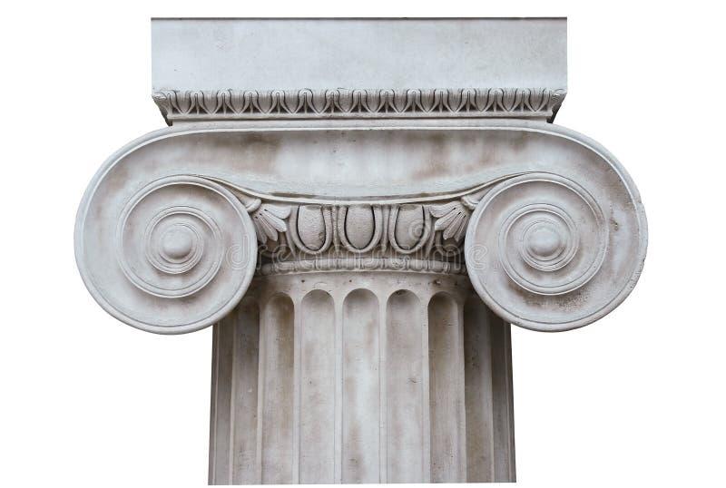 Colum ionico isolato su bianco fotografia stock