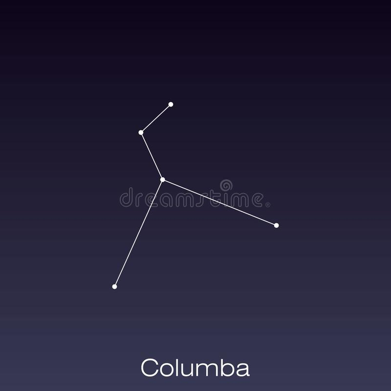 Constellation as it can be seen by the naked eye. Columba constellation as it can be seen by the naked eye vector illustration