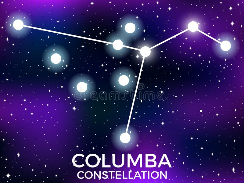Columba constellation. Starry night sky. Cluster of stars and galaxies. Deep space. Vector. Illustration vector illustration