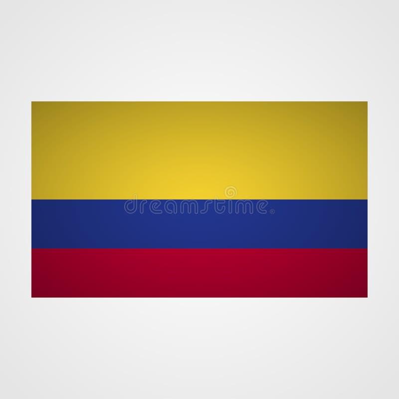 Columbia flagga på en grå bakgrund också vektor för coreldrawillustration royaltyfri illustrationer