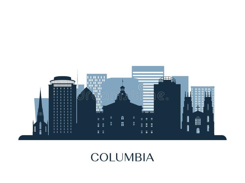 Columbia horisont, monokrom kontur royaltyfri illustrationer
