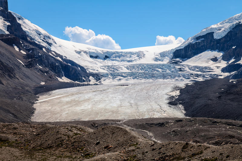 Columbia Icefield and Glacier, Icefields Parkway- Jasper National Park- Alberta- Canada. A hike to this spectacular glacier is a long and windy process royalty free stock photos